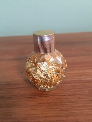 Gold Leaf Flakes Glass Vial Jar Gold Top Collected 2 Inches High Witchcraft Lot