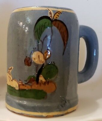 Vintage Mexican Tlaquepaque Pottery Blue Mug Hand Painted