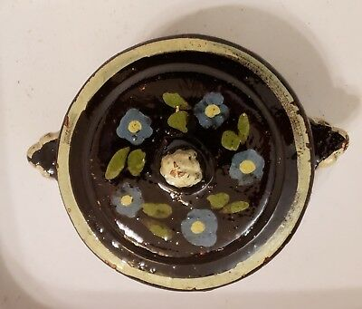 Vintage Mexican Hand Painted Small Pottery Bowl W/Lid