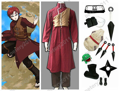Naruto Shippuuden Gaara 2nd Cosplay Party Costume Red Set Custom-made New