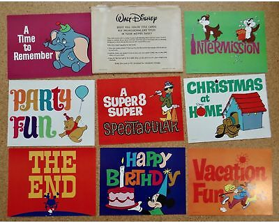 Walt Disney Characters 8 Color Title Cards Home Movie Making Mickey Goofy Donald