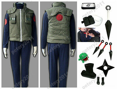 Naruto Hatake Kakashi Deluxe Cosplay Costume Vest+Inner Shirt+Pants Clothes Suit