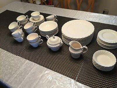 Myott Olde Chelsea Swirl Pattern—69 Pc Staffordshire England China White