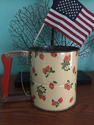 50's VINTAGE ANDROCK Hand-i-sift SIFTER STRAWBERRY strawberries FLOWER USA METAL