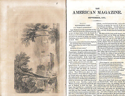 American Magazine 1841 Early Mammoth Cave Kentucky Large Map Points Inside Cave