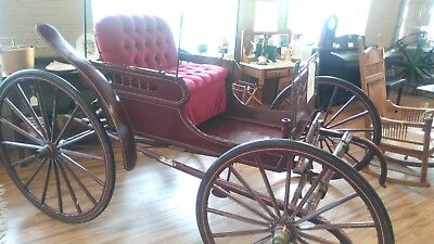 Antique Red Horse Drawn Buggy Carriage