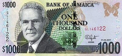JAMAICA $1000 Dollars 2017 P NEW Michael Manly UNC Banknote