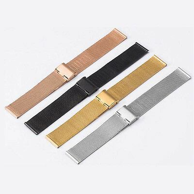 12-24mm Mens Ladies Stainless Steel Watch Mesh Bracelet Strap Replacement>