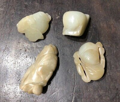 Chinese Antiqie Old White Jade Pendants Lots Of 4 Asian China