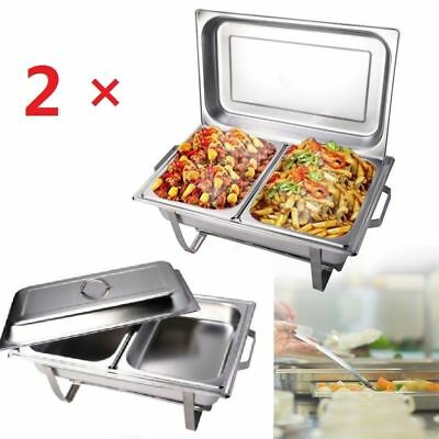 2X9L Stainless Steel Chafing Dish Buffet Stove Caterers Food Warmer Tray Serving