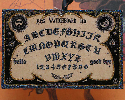 Glittered Wooden Halloween Ornament~Witchboard Ouija Board~Vintage Image