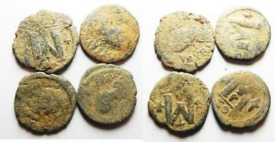 ZURQIEH -as8068- BYZANTINE EMPIRE. LOT OF 4 BRONZE FOLLIS COINS.