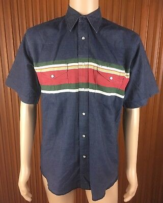 (Used) Mens Wrangler Pearl Snap Short Sleeve Rodeo Western Shirt Size: M~