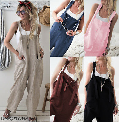 Womens Ladies Casual Baggy Wide Leg Jumpsuit Dungarees Pants Trousers Overalls