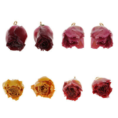 2x 2cm 3D Rose Resin Dried Flower Charms for DIY Jewelry Making Dangle Beads