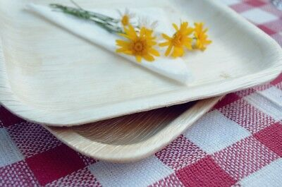 "100x Large 10""/25cm SQUARE PALM LEAF Dinner Plates -Biodegradable/Eco Friendly"