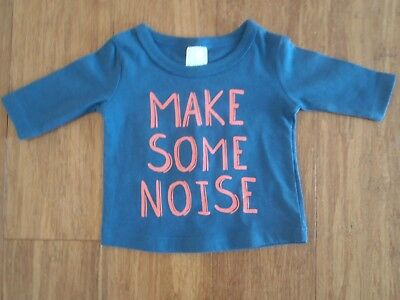 "Bnwt! Baby Boys Size 0000 Blue Long Sleeve Top ""make Some Noise"""