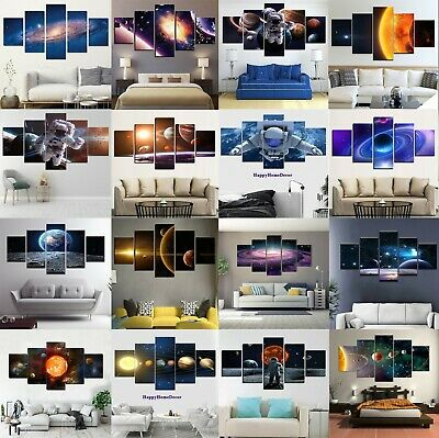 Galaxy Painting 5pc Canvas Print Space Astronaut Poster Wall Art Gift Home Decor