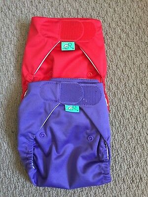 2 x Tots Bots Stretchy Wrap Covers, Purple and Red, Size 2, Brand New