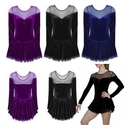 Girls Women Latin Rumba Ice Figure Skating Dress Competition Ballet Dancewear