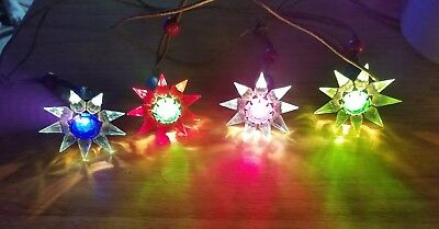 4-Vintage Christmas C-6 MATCHLESS WONDER STAR  Christmas bulbs-CHRISTMAS LIGHTS