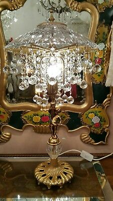 Vintage Brass and Crystal Table Lamp