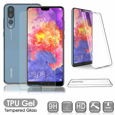 For Huawei P20 Pro Lite P Smart - TPU Case Cover+Tempered Glass Screen Protector