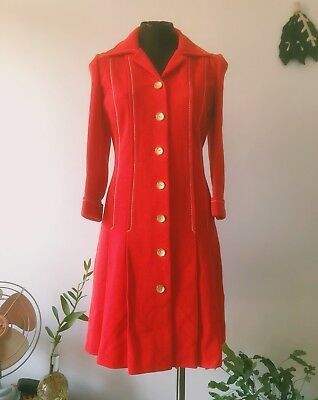 Vintage Red Knit Wool 70s Pleat Gold Button Shirt Dress Womens