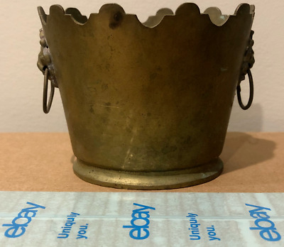 Mottahedeh Brass - Small Planter with Lion Head Handles - Solid Brass - Vintage!