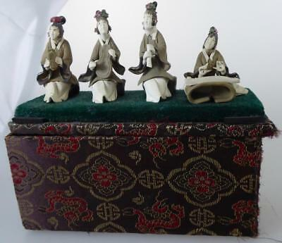 Japanese Box With  4 Pottery Musician Figurines Unglazed Terracotta?