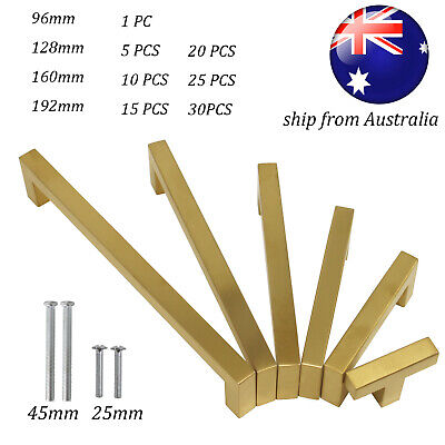 96/160/192mm Kitchen Cabinet Handles Brushed Brass Pull Stainless Steel Square