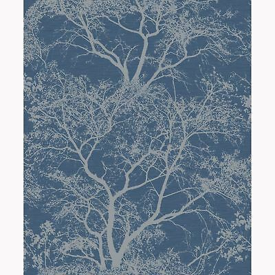 Whispering Trees Glitter Wallpaper Blue - Holden Decor 65402 Sparkle