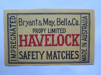 BRYANT & MAY HAVELOCK CIGS MATCH LABEL AUST MADE 1930s LARGE MATCHBOX PACK SIZE