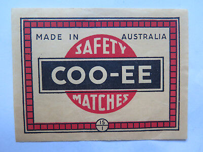 BRYANT & MAY COO-EE MATCH LABEL AUSTRALIAN MADE 1930s LARGE MATCHBOX PACK SIZE