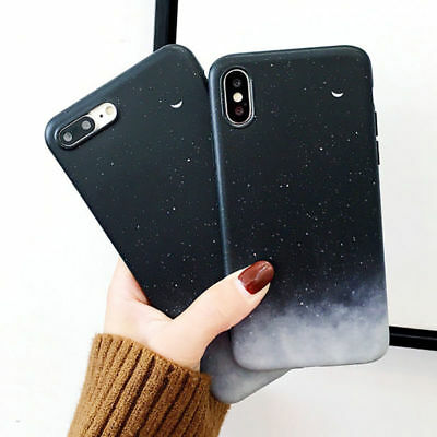 Moon Space Gradient Soft Phone Case Cover For iPhone 6 6S 7 8 Plus X XR XS Max