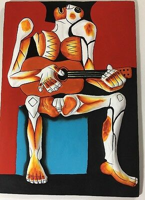 Folk Art Handmade Painting Sculptures from Ecuador Art Pottery Wall Sculpture