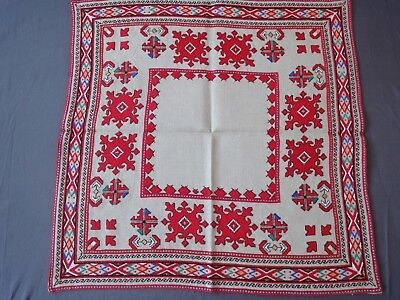 Lovely Vintage Multi-Color Hand-Embroidered Linen Tablecloth