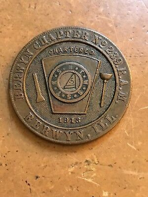 Berwyn IL R.A.M. Chapter number 239 Masonic Large Penny