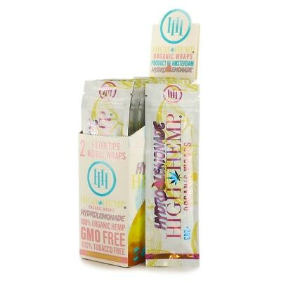 2 Boxes High Hemp Lemonade 25 Packs of 2 Natural Organic Wraps Vegan Non GMO NEW