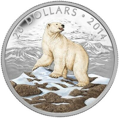 CANADA 2014 $20 Iconic Polar Bear Coloured - Pure Silver Coin
