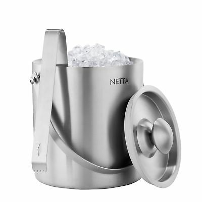 Netta 2L Ice Bucket Container With Tongs And Lid Stainless Steel Double Wall