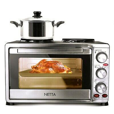 NETTA Mini Oven With Hob Hotplate Electric 1500W 23L Cooker Baking Cooking Roast