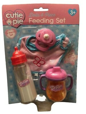 Cutie Pie Baby Dolls 4 Piece Feeding Accessory Set Playset Bib Bottle Cup Dummy