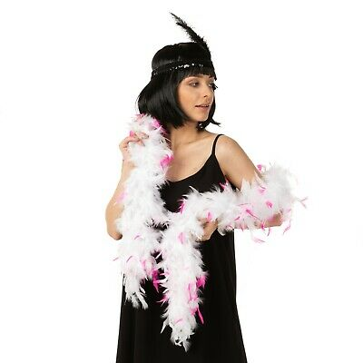 Pink White Tips Hen Night Feather Boa 95G 1.2 Meters Fancy Dress 1920 Costume
