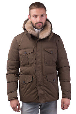 PEUTEREY Down Parka Jacket Size L Detachable Rabbit Fur Trim Hooded RRP €625