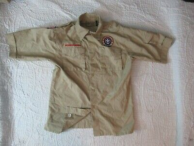 BSA  Boy Scout Uniform Shirt Youth LARGE SS 67%Cotton Centennial Initials on Tag