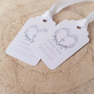 Personalised Christening / Baptism / Holy Communion Favour Tags with Ribbon