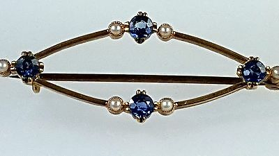 Vintage antique Victorian blue sapphire & pearl brooch stamped 15k yellow gold