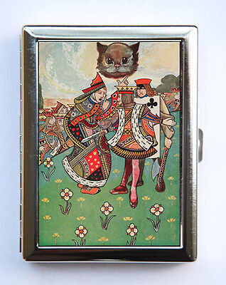 Alice In Wonderland King Queen Cheshire Cat Cigarette Case Wallet Business Card