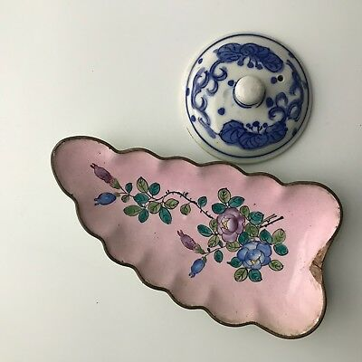 Antique Chinese Enamel on Copper Leaf Dish & A B/W Small Porcelain Mug Cover